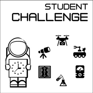 """Student Challenge icon -- A white square with a black border, showing the words """"Student Challenge"""" above an astronaut holding a clock next to icons representing a telescope, a drone, a rover, a testing meter, a beaker and flask, and a notebook."""