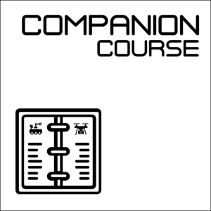 """Companion Course icon -- A white square with a black border, showing the words """"Companion Course"""" above a notebook showing a drone and a rover."""