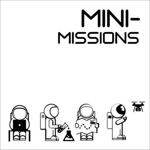 """Mini-Missions icon -- A white square with a black border, showing the words """"Mini-Missions"""" above a group of four astronauts performing missions tasks."""