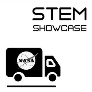 """STEM Showcase icon -- A white square with a black border, showing the words """"STEM Showcase"""" above a cargo truck with the NASA logo on the side."""