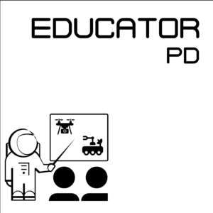 """Educator PD icon -- A white square with a black border, showing the words """"Educator PD"""" above an audience of two people in a classroom setting, watching an astronaut instructor gesturing to a board showing images of a drone and rover."""